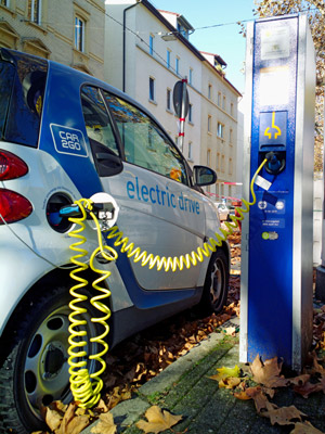 Electric charging station charging a car