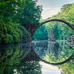 An arch bridge in Kromlau, Germany.