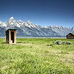 Wooden outhouse and barn in Mormon Row, Grand Teton National Park, USA.