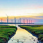 Landscape of windmills in Gaomei Wetlands, Taiwan.