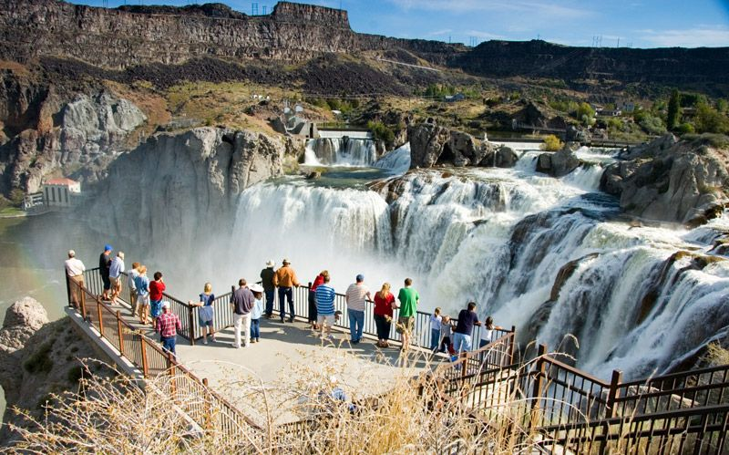 Overlooking Shoshone falls in Idaho, United States.