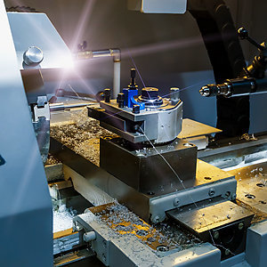 Industrial metal mold blank milling. Metalworking. Lathe, milling and drilling industry.
