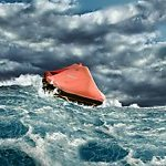 Life raft in stormy seas.
