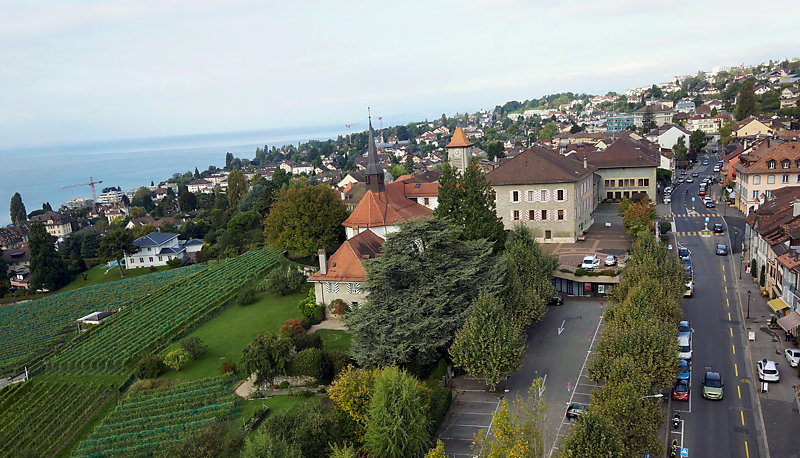 Aerial view of Pully, Switzerland.