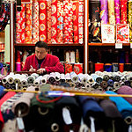 Silk shop seller.