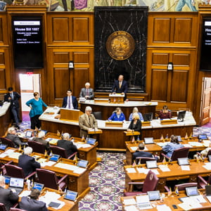 House of Representatives in session, confronting arguments for and against a bill.