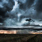 Dramatic storm and tornado.