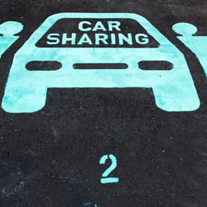 Car sharing pictogram  in the street, Singapore.