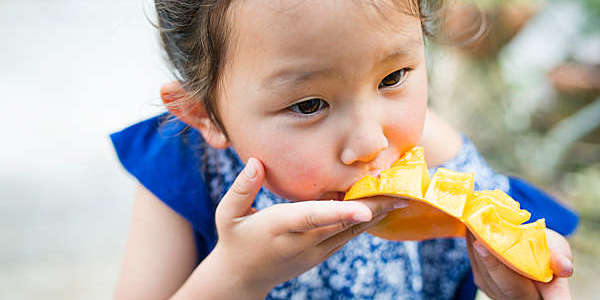 Little oriental girl eating a mango.