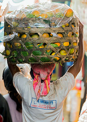 Back view of a man carrying a basket of mangos on his head at a traditional rural street market in North Bali.