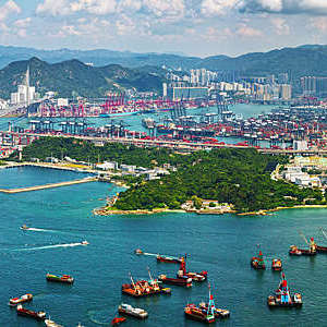 Aerial view of a container terminals in Kwai Tsing District, Hong-Kong.