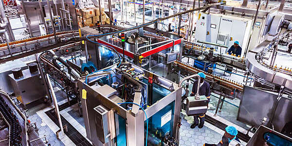 Fully automatic bottling plant in operation.