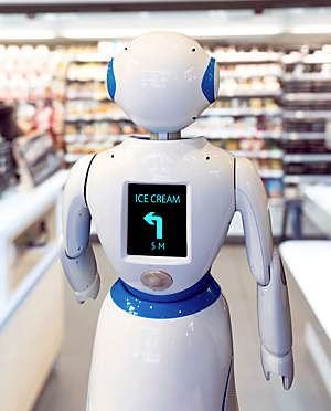 Rear view of humanoid robot with screen on torso displaying directions to ice cream.