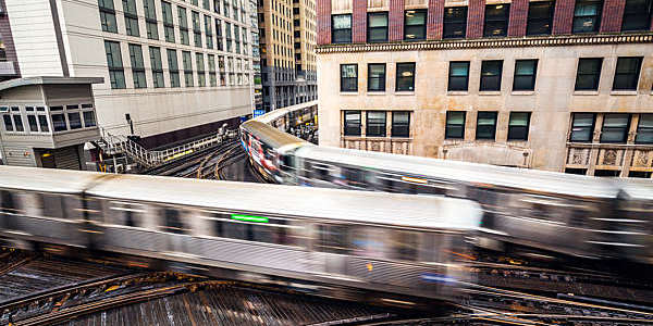 High angle view of subway trains in motion in Chicago, USA.