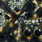 Aerial top view Oil refinery at night for energy industry or transportation background.