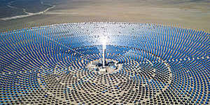 Aerial view of a large solar thermal power plant in the Nevada desert, USA