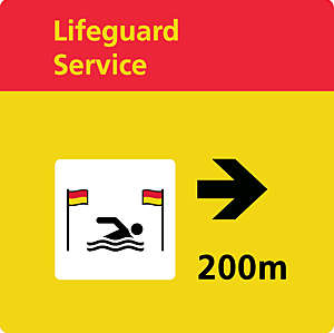 Yellow and red water safety signs indicating the nearest lifeguard station.