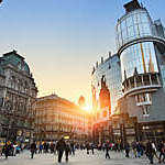 The Stephansplatz is a square at the geographical centre of Vienna. It is named after its most prominent building, the Stephansdom, Vienna's cathedral and one of the tallest churches in the world.