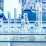 Close-up of laboratory glassware.
